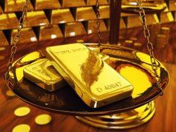 Gold ingots on brass scale ,3d illustration