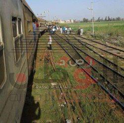 خروج عربات قطار قلين- كفر الشيخ عن القضبان