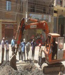 إزالة حالات التعدى على الأراضى الزراعية و إصلاح كسر خط مياه الشرب بمدينة دسوق- كفر الشيخ