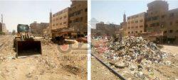 حملات مستمرة لرفع المخلفات والقمامة اسفرت عن رفع 2500 طن قمامة ومخلفات ببشتيل