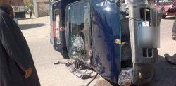 انقلاب سيارة شرطة على الطريق الصحراوي الغربي بالقرب من كمين الكوامل بسوهاج